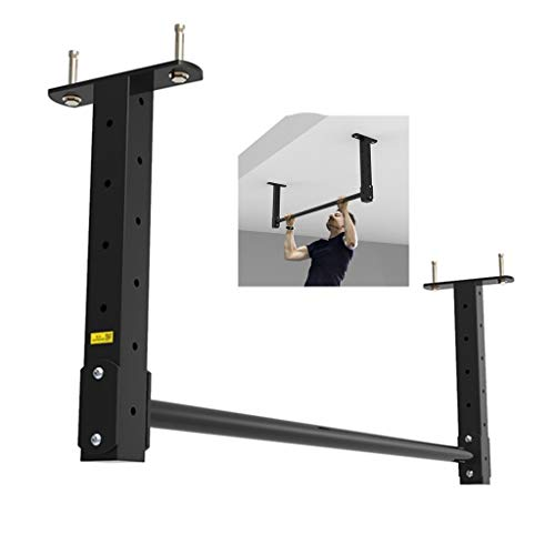Pull-up Device Home Height Adjustable Arm Exercise Single Rod Ceiling Ceiling Pull-up Device Strong Load-Bearing (Color : Black, Size : 1204215cm)
