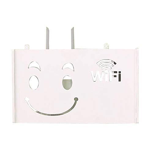 XZANTE Router WiFi Inalámbrico Caja de Almacenamiento Estante de Madera Y Plástico Soporte Colgante de Pared Almacenamiento de Cable Decoración para El Hogar -Grande