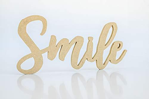 Wood Addicts Palabra Decorativa Smile en DM marrón. para Pared o Puerta. Regalo Ideal niños, Pareja, San Valentin, aniversarion, Cocina, Dormitorio, baño