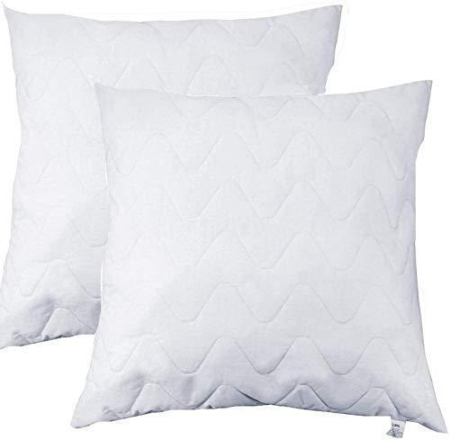 Sable Kopfkissen 2 Stück Quadratisches Kissen mit Reisverschluss zum Einstellen der Kissenhöhe, Waschmaschinen-Freundlich, Formbeständige EPE-Füllung, Atmungsaktiver Kissenbezug