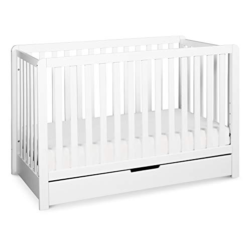 Carter's by Davinci Colby 4-in-1 Convertible Crib with Trundle Drawer in White, Greenguard Gold Certified