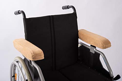 Armlehnenpolster von SALJOL für Druckentlastung der Unterarme im Rollstuhl oder Bürostuhl, Länge 34-35 cm, hellbraun