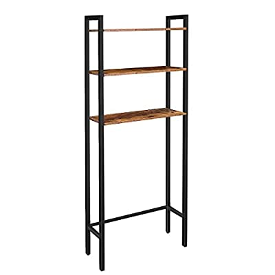 HOOBRO Toilet Storage Rack, 3-Tier Over-The-Toilet Cabinet, Industrial Bathroom Organizer Over The Toilet, Bathroom Space Saver with Multi-Functional Shelves, Rustic Brown BF41TS01