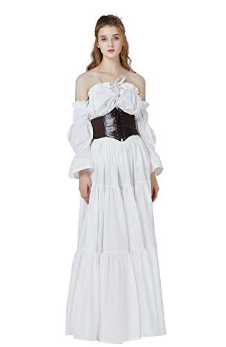 Mittelalterlicher Gypsy Rock Lang Baumwolle Mittelalter LARP Viktorianisches Renaissance Kleidung Karneval Piraten kostüm Boho Sommerrock Rohes Weiß M