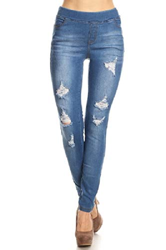Women's Stretch Pull-On Skinny Ripped Denim Jeggings W/Pockets Blue-55 1XL