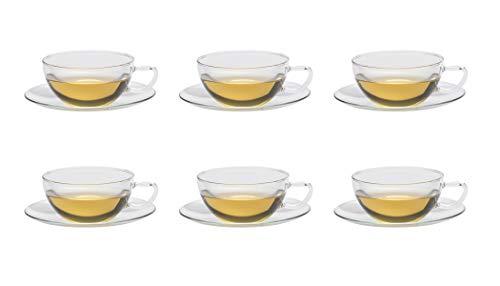 6er Set Trendglas Jena Teetasse Opus mit Glasunterteller, 0,2 Liter