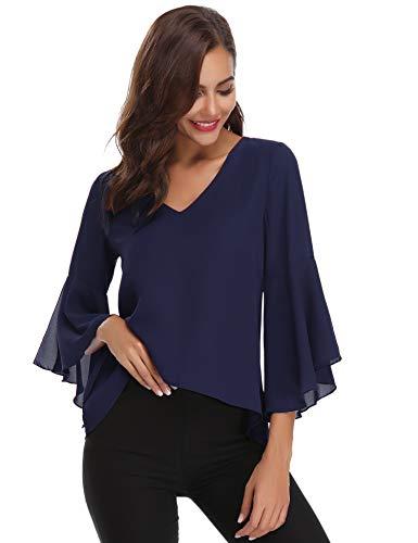 Abollria Camisas Mujer 3/4 Mangas Elegante Blusa Verano Camisetas de Gasa Cuello V Casual Chiffon Top Mangas Acampanadas para Primavera Otoño, Azul Real, M