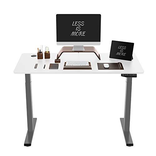 Flexispot ED2 Elektrisch Höhenverstellbarer Schreibtisch mit Tischplatte. Mit Memory-Steuerung und Softstart/-Stop& integriertes Anti-Kollisionssystem. (Grau, 80 x 160 cm)