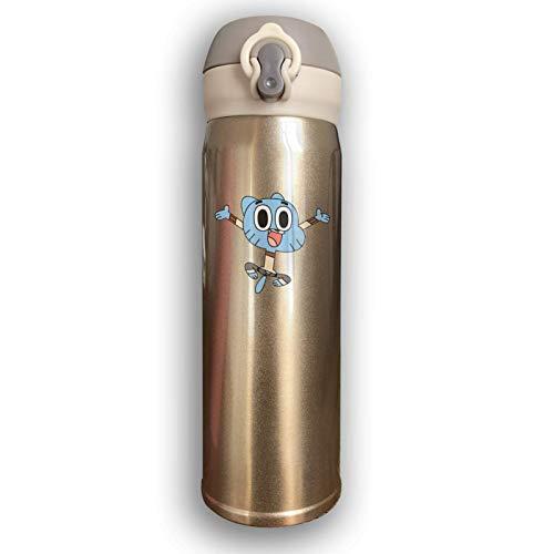 AEMAPE Botella de Agua de Acero Inoxidable con Aislamiento al vacío El Asombroso Mundo de Gumball Taza Termo de Moda Divertida para Bebida fría Caliente Café o té Amarillo
