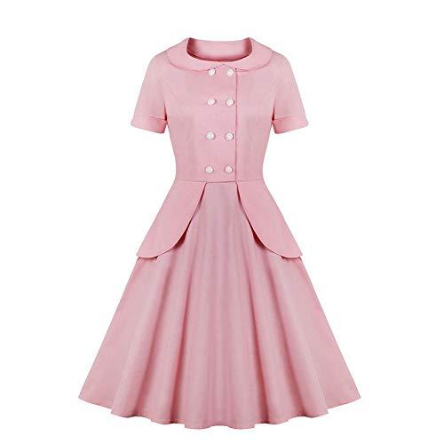 Vestido para Mujer Vestido De Cuello De Muñeca De Manga Corta Retro con Gran Columpio Rosa_M