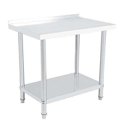 Doppellagiger Plattform-Arbeitstisch Arbeitsbank Lebensmittelzubereitung Küche Catering Schreibtisch Edelstahl Picknicktisch mit Rückspritzer 91 * 61 * 85 cm metallisch