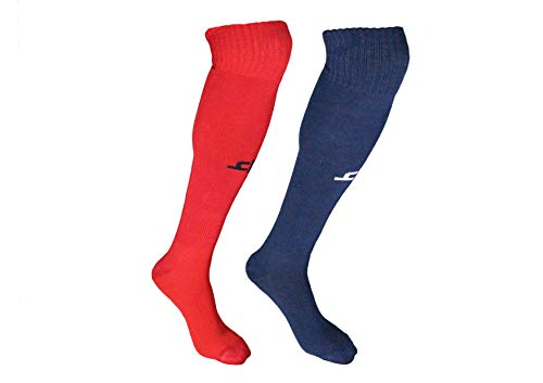 Heelium Bamboo Football Socks for Men and Women Blue & Red Knee High Length Stockings Superior Grip for Shin Guard Anti Slip Anti Blister Anti Odour Free Size (Shoe Size UK7 - UK12) Pack of 2 Pairs