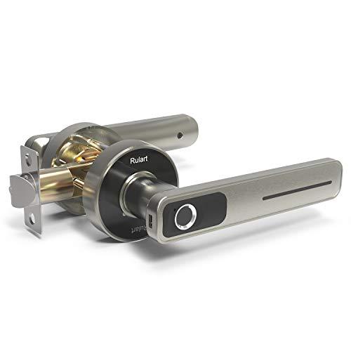 Fingerprint Electric Smart Door Lock, Biometric Keyless Entry Door Handle, Safe Single-Cylinder Door Lock for Family Apartment Office Brushed Nickel (Silver)