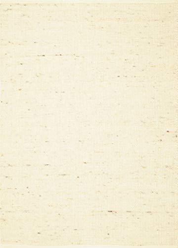 TISCA Teppich aus Schurwolle Wollteppich Pure Natur hell beige Größe 70 x 130 cm