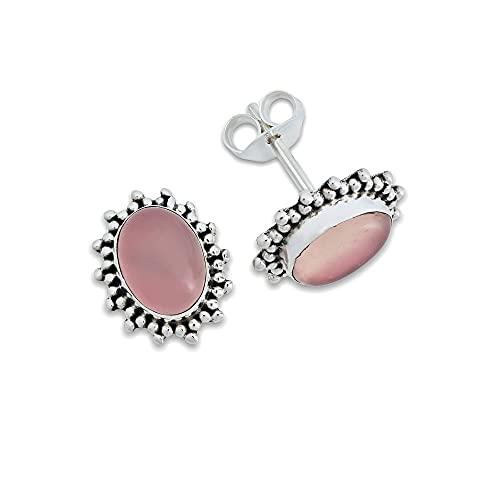 Pendientes de plata 925 con cuarzo rosa (No: MOS 54-07)