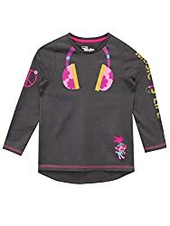 Kids Trolls Long Sleeve Top. ! This grey long sleeve top features a print of The Queen of Trolls Poppy with a groovy floral printed headphones on the chest. Complete with a neon pink peace sign on the arm and the slogan 'Music is Life' down the other...