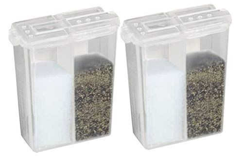 """HOME-X Pocket Salt and Pepper Shaker, Dual Seasoning Container, Clear - Set of 2-2"""" L x 1 ½"""" W x ¾""""H"""