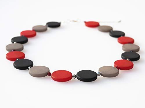Polariskette grau rot schwarz mit Swarovski® Kristallen