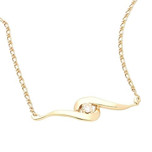Jollys Jewellers Collar de oro amarillo de 9 quilates para mujer, de 40,6 cm y 0,15 quilates (1 mm de ancho y 30 x 8 mm) | Collar único para mujer
