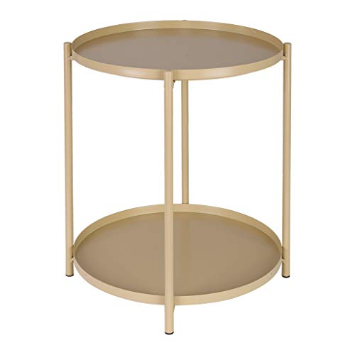 Freesa Coffee Table Little Round Table Side Table Lazy Table Nordic Wrought Iron Ins Style Multifunction Shelf Storage Rack Suit for Indoor and Outdoor Living Room Us Fast Shipment (Yellow)