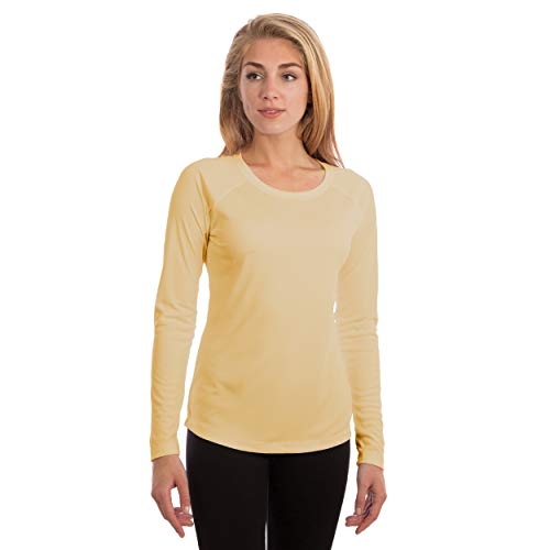 Vapor Apparel Women's UPF 50+ UV Sun Protection Long Sleeve Performance Slim Fit T-Shirt for Sports and Outdoor Lifestyle, Large, Pale Yellow