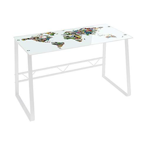 Escritorio Blanco de Cristal Moderno de 75x120x60 cm - LOLAhome