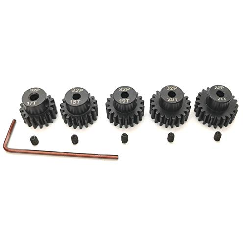 MakerDoIt 32P Hardened Pinion Gear Set 3.175 Hole 17T 18T 19T 20T 21T with Hex Key (Compatible with 0.8 Metric Pitch)