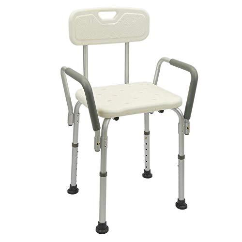 PrimeMatik - In hoogte verstelbare antislip douchestoel met armleuningen voor senioren