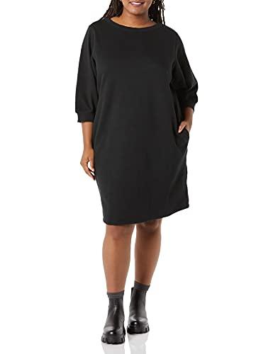 abito donna 6xl Amazon Essentials Vestito Girocollo in Spugna Francese con Maniche a Blouson