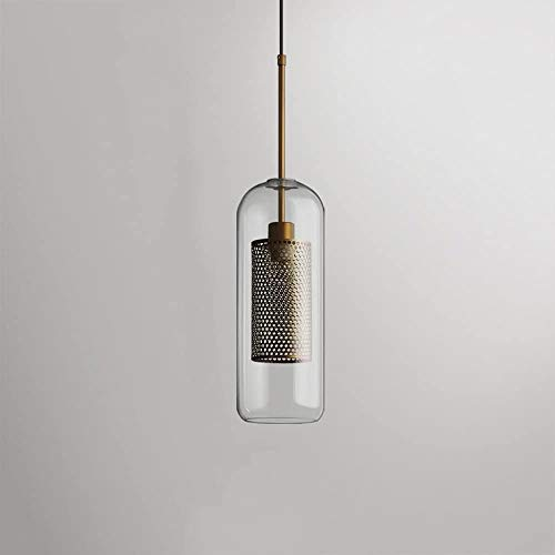 Modern Simple Bedroom Bedside Lamp Retro Industry E27 Kitchen Restaurant Ceiling Pendant Lamp Chandelier,1.5M Adjustable Hanging WireCreative Postmodern Clear Glass Iron Pendant Light