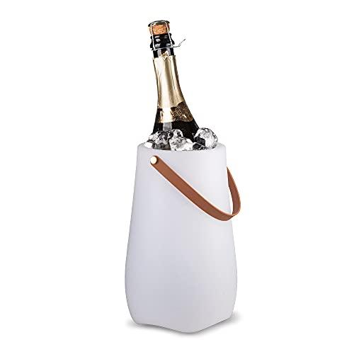 BluMill Cantinetta per vino con lampada integrata, illuminazione per feste e altoparlante, design liscio