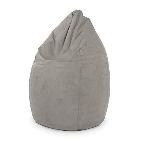 Green Bean © Drop Sitzsack 60x60x90 cm - 220L - Indoor - Sitzhöhe 50 cm, Rückenlehne 40 cm - waschbar, schmutzabweisend - für Kinder, Jugendliche, Erwachsene - Wildleder Optik - Dunkelbeige