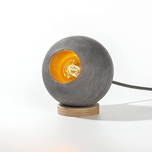 Womo Design - Lámpara de mesa de cemento industrial, minimalista de hormigón, moderna lámpara de escritorio de cemento gris