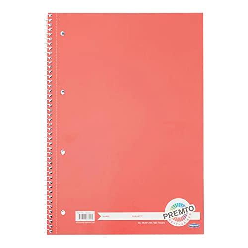 Premier Stationery Cuaderno en espiral Premto A4. 160 páginas perforadas, rayadas con margen. Perforado con 4 agujeros.Precioso color rojo ketchup.