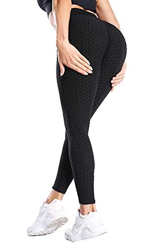 STARBILD Leggings Sportivi da Donna Anti-Cellulite Sexy Push Up Vita Alta Pantaloni Compressione Yoga Pant Calzamaglie Slim Palestra Allenamento, D-Nero XS