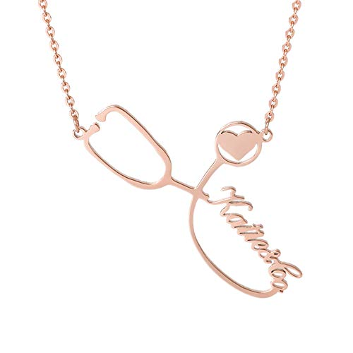 Collar de enfermera, collar de estetoscopio personalizado, colgante en forma de corazón personalizado con nombre, regalos de joyería para estudiantes de medicina y personal