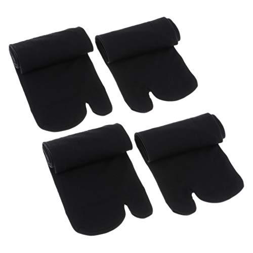 Colcolo 2 Pares de Calcetines Elásticos con Puntera Calcetines de Algodón Calcetines Cortos Tabi Calcetines con Chanclas - Negro, 34cm