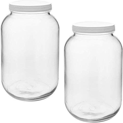 Tebery 1 Gallon Clear Mason Glass Jar Wide Mouth with Airtight Plastic Lid for Canning, Storing, Pickling & Preserving - Set of 2