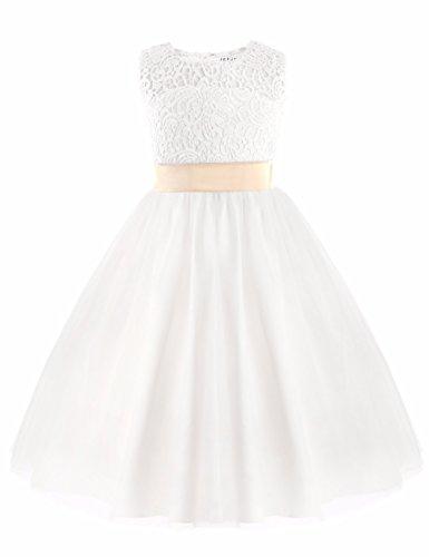 iEFiEL Festliches Mädchen Kleid Brautjungfern Weiß Festzug Kleider Hochzeit Partykleid Festlich Gr. 92 104 116 128 140 152 Weiß 152