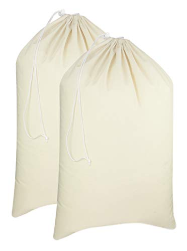 COTTON CRAFT - 2 Pack Extra Large Cotton Canvas Heavy Duty Laundry Bags - Natural Cotton - 28'x36' - Versatile - Multi Use