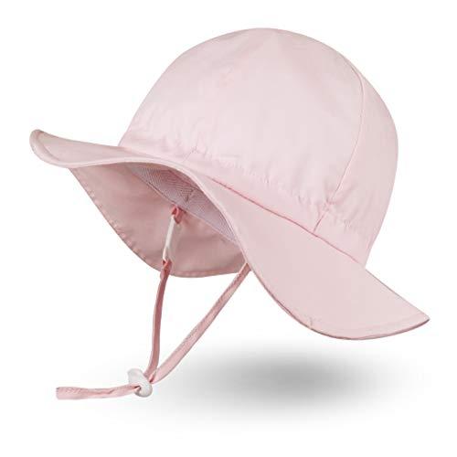 Ami&Li tots Niña Sombrero de Sol ala Ancha Ajustable Sombrero Protección Solar UPF 50 para Bebés, Niñas Niños Infantil Pequeñito Unisexo - M: Rosa