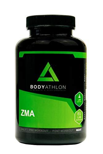 Bodyathlon- ZMA- Potenciador con Zinc Magnesio y Vitamina B6– Suplemento para Rendimiento- Recuperador Muscular- Aumento de Energía e Impulso- Evita el catabolismo- Testosterone Booster - 90 cápsulas