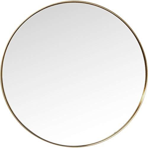 Kare Design Spiegel Curve Round, runder Wandspiegel, Bad Spiegel, Schminkspiegel, Gold (H/B/T) 100x100x5cm