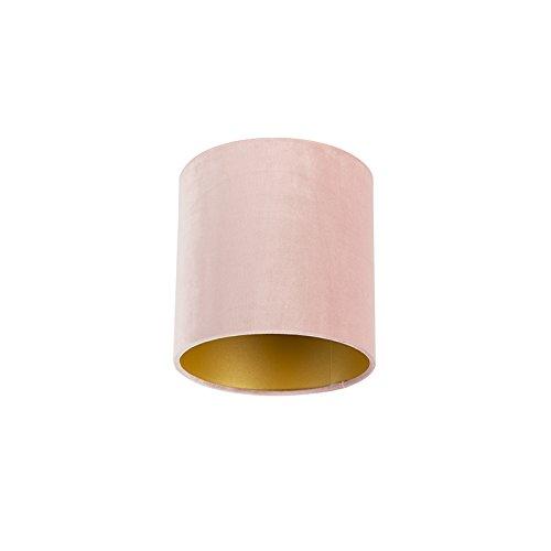 QAZQA Velours lampenkap roze 20/20/20 met gouden binnenkant, Rond recht hang kap,staande kap