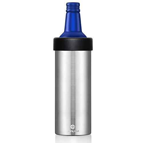 JIVILILM Vacuum insulated Double wall stainless steel holder for 16oz slim aluminum beer bottles (Stainless Steel)