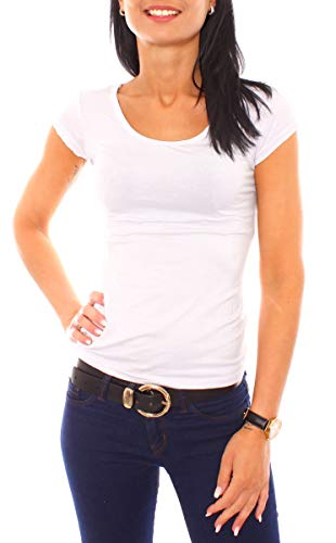 Easy Young Fashion Damen T-Shirt Basic Kurzarm Top mit Rundhals-Ausschnitt Skiny Fit NOS Einfarbig Weiß L 40