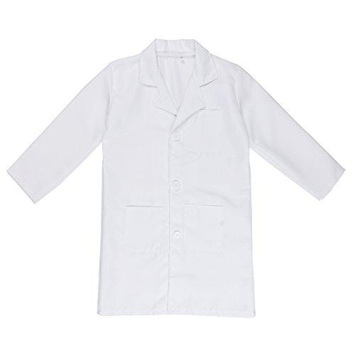IEFIEL Bata Blanca Cosplay Uniforme de Laboratorio Disfraz de Doctor Enfermera Abrigo Chaqueta para Niño Niña Unisex Blanco 7-8 Años