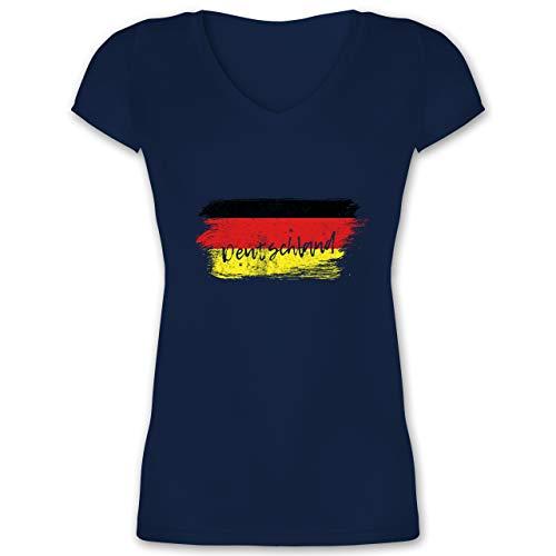 Fussball EM 2021 Fanartikel - Deutschland Vintage - XS - Dunkelblau - Handball wm 2019 Deutschland Damen Shirt - XO1525 - Damen T-Shirt mit V-Ausschnitt