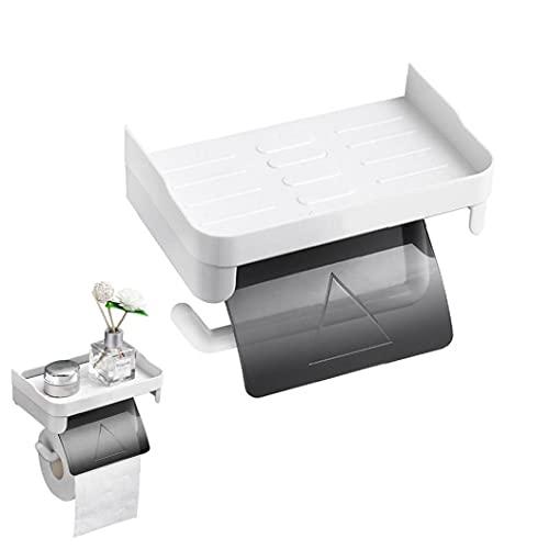 Estante de rodillo de inodoro Estante de plástico Montaje de pared Papel Rack de almacenamiento de papel para baño Cocina para el hogar Prensado
