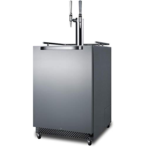 New Summit SBC695OSNCFTWIN 24Inch Wide 6.04Cu. Ft. Built-in Twin Tap Nitro-Infused CoffeeKegerator with DoorLock